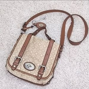 Fossil tan canvas&brown leather cross body bag